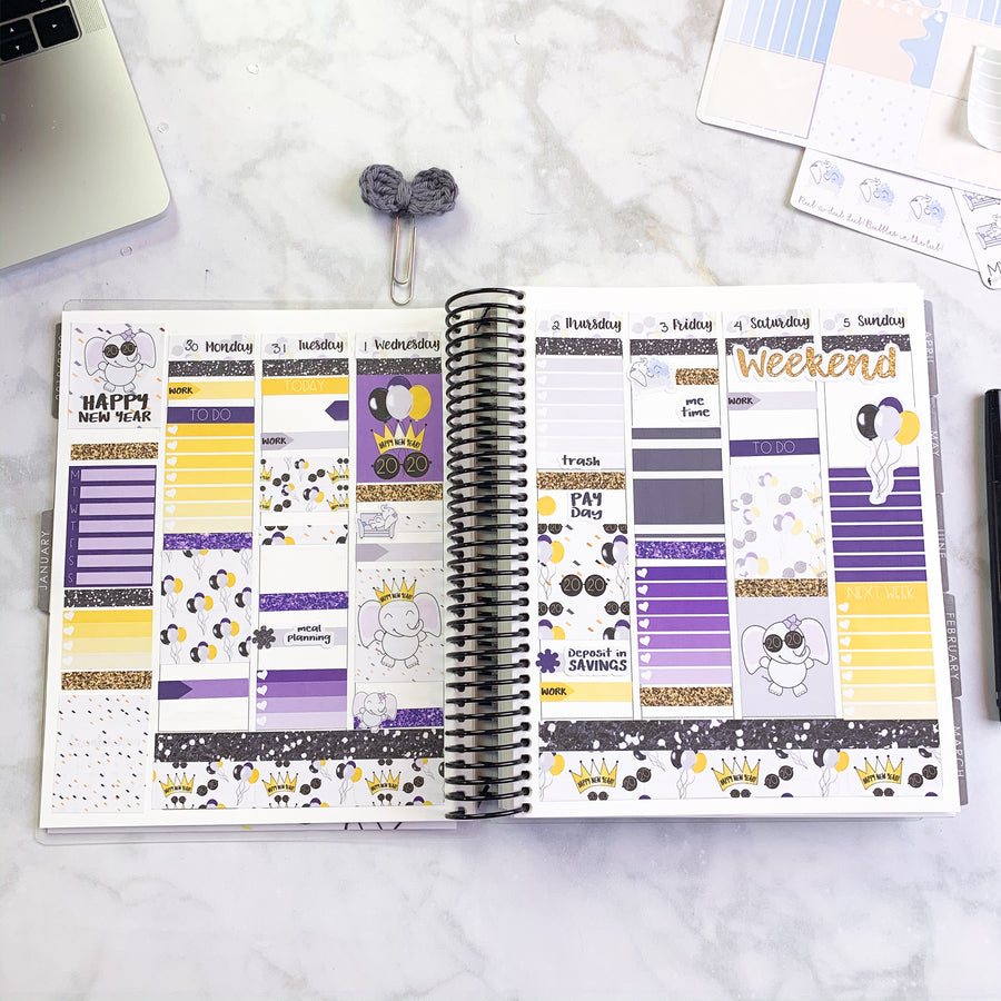 Happy New Year Planner Sticker Weekly Kit