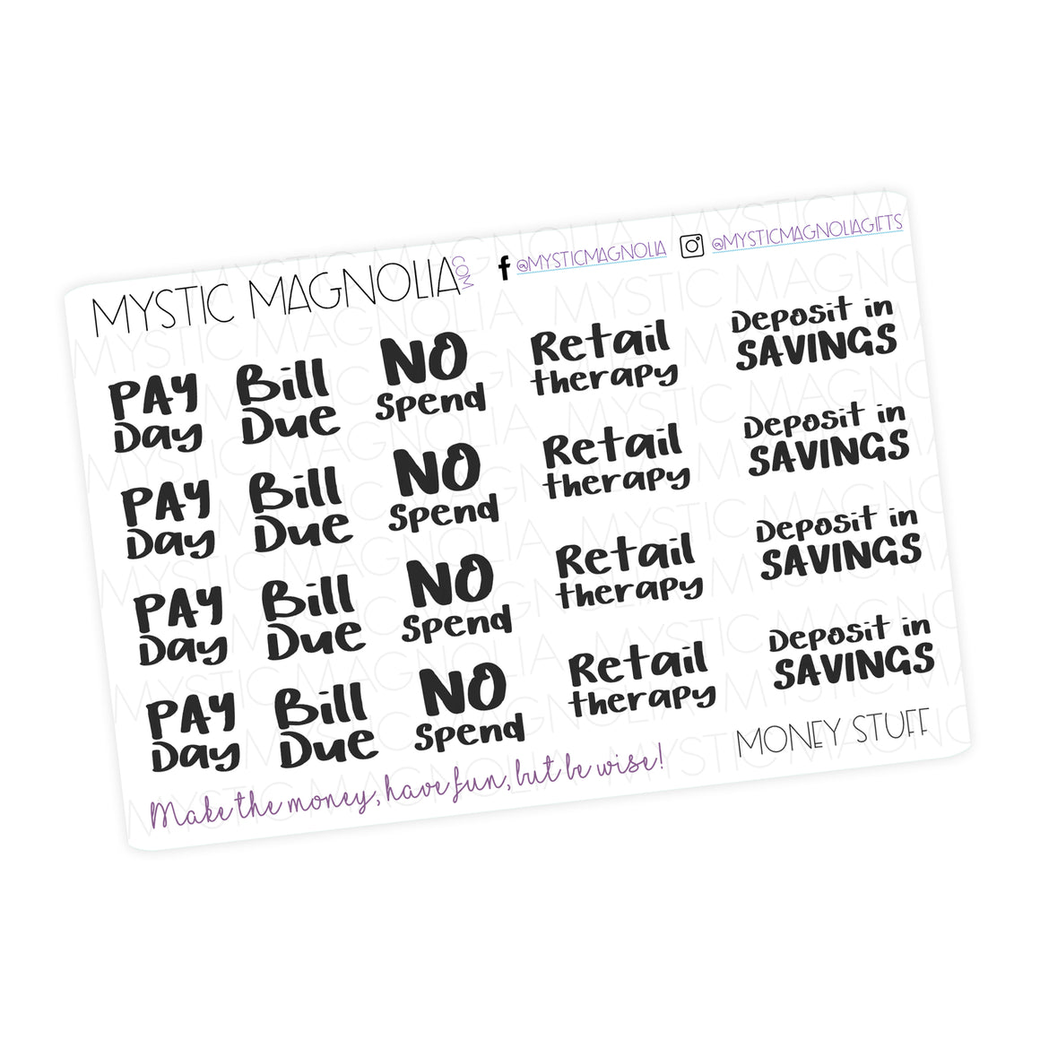 Money Stuff Script Planner Stickers