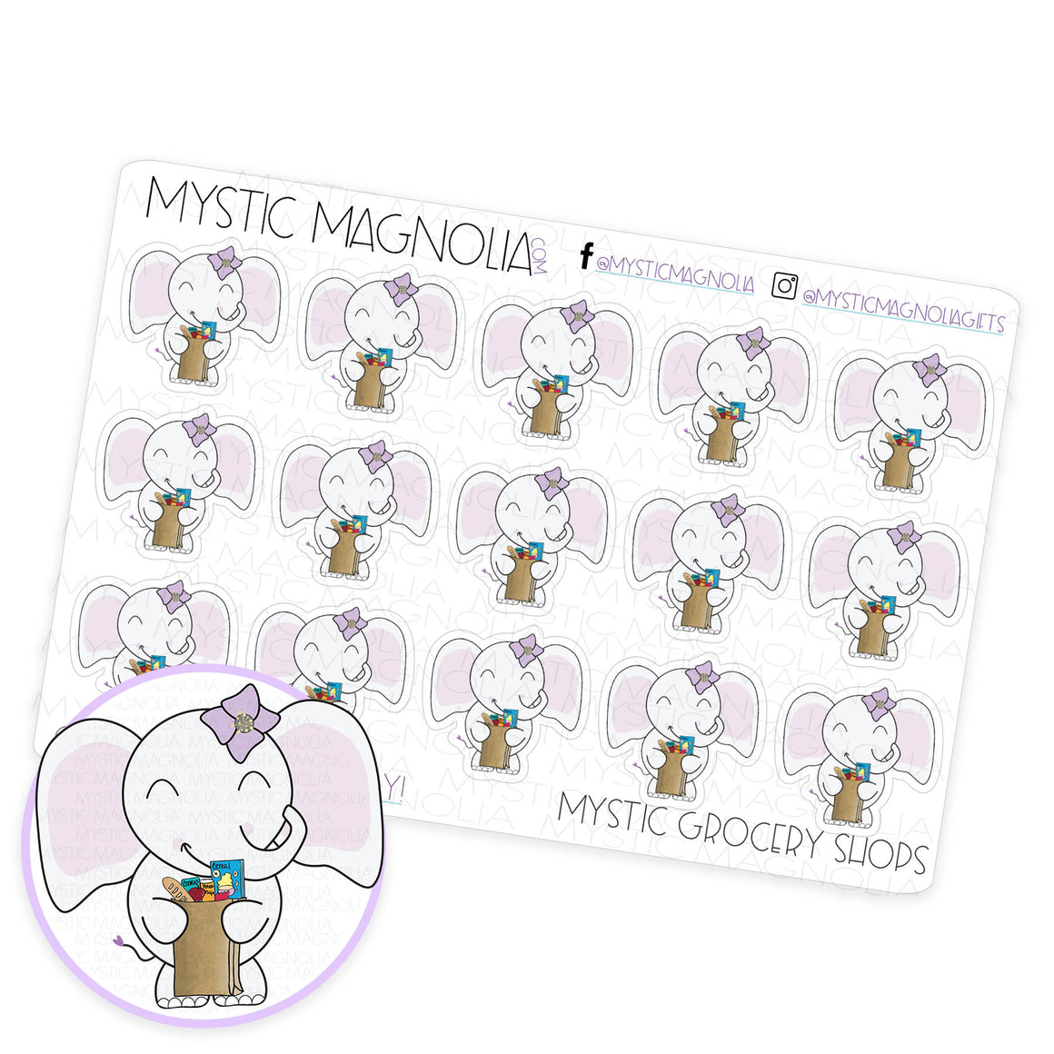 Mystic Grocery Shops Planner Sticker Sheet