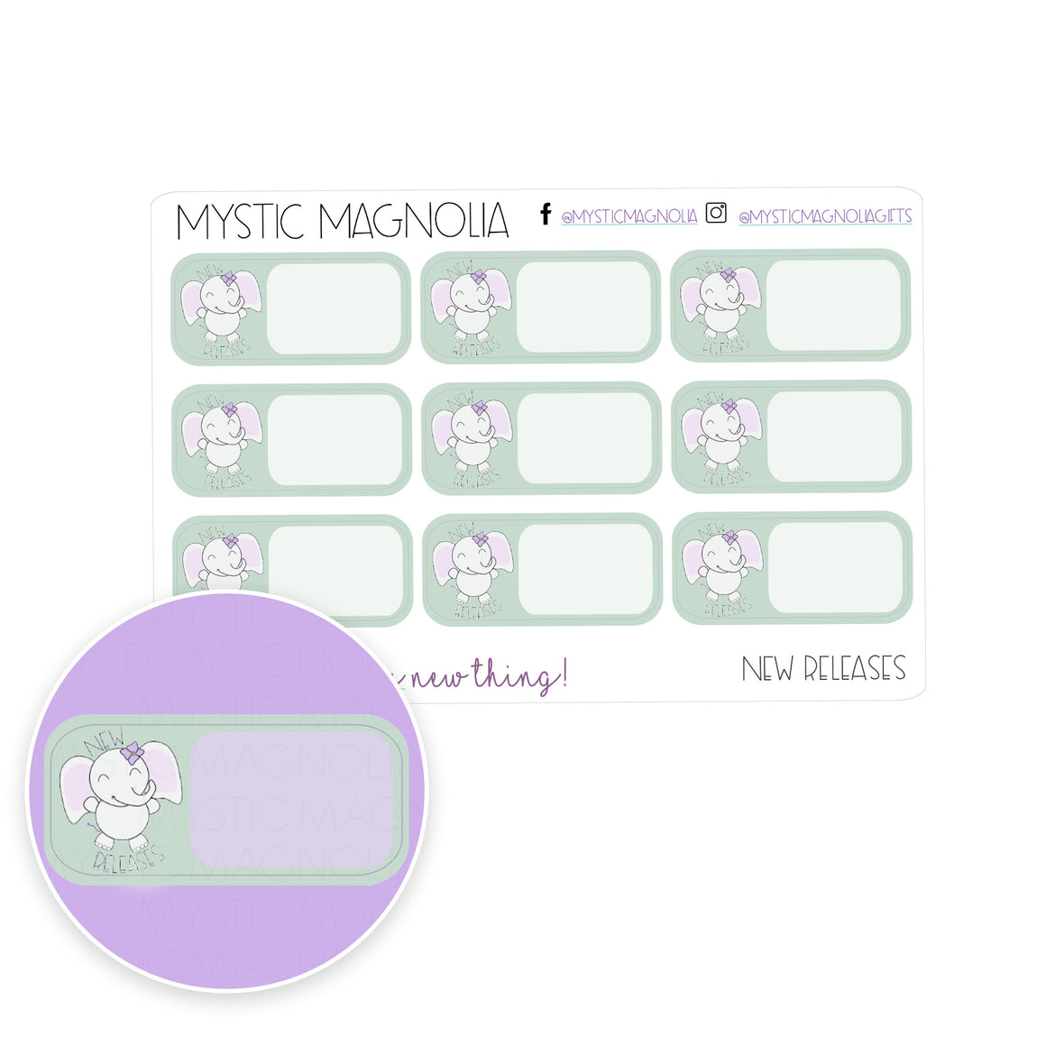 New Releases Planner Sticker Label
