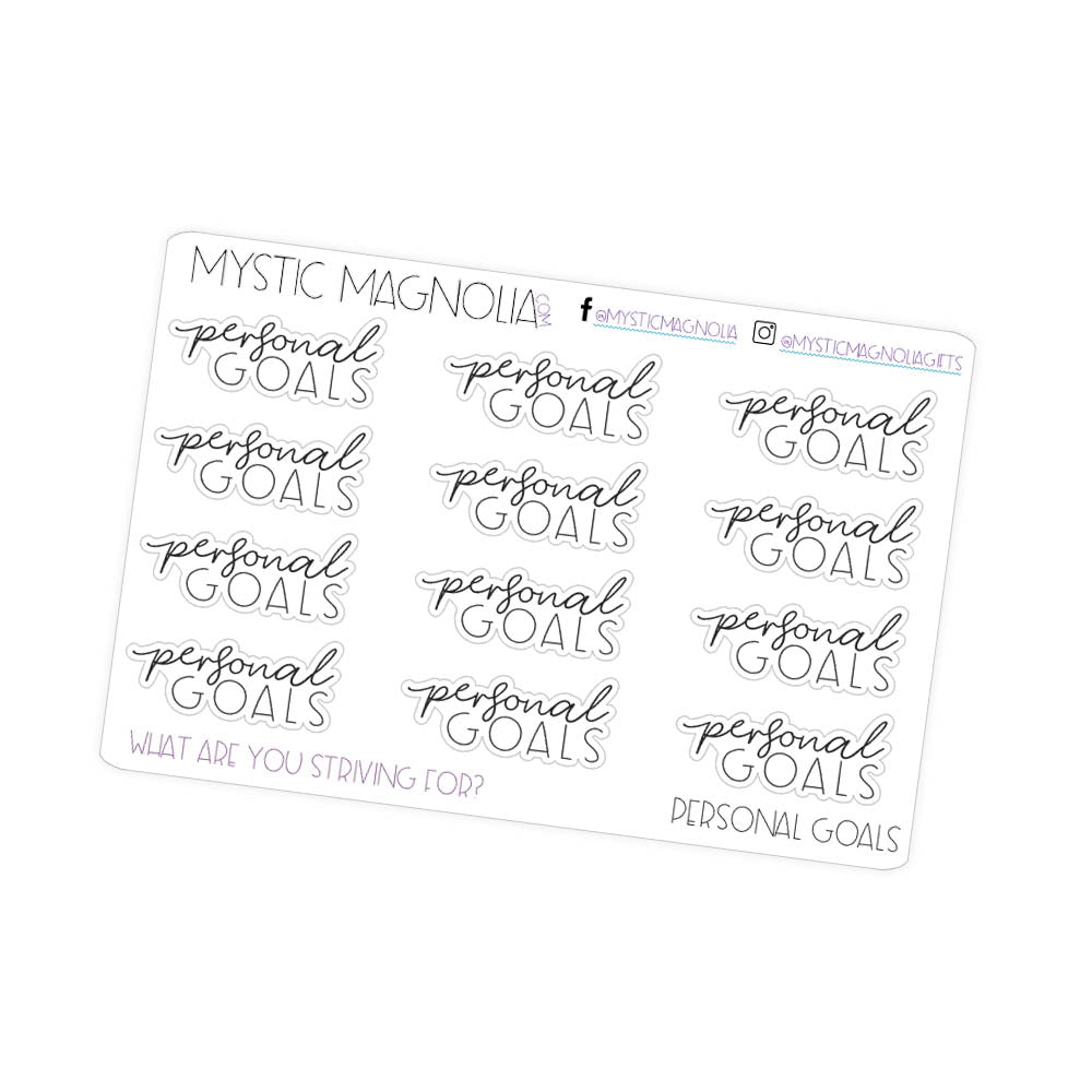 Personal Goals Script Planner Stickers