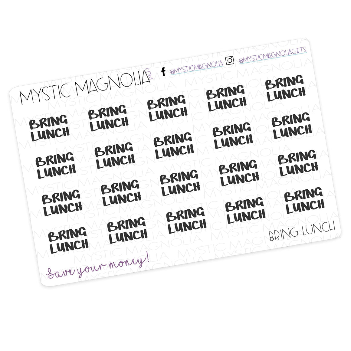 Bring lunch - Script Planner Stickers