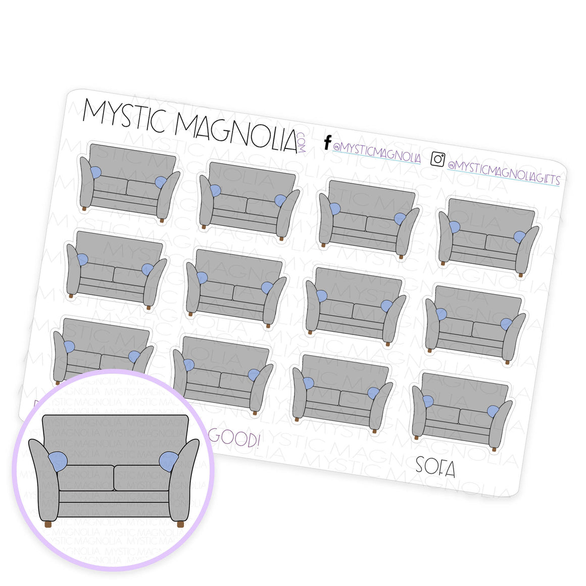 Sofa Planner Sticker Sheet