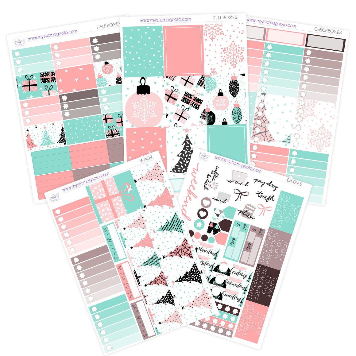 Modern Christmas Planner Sticker Kit