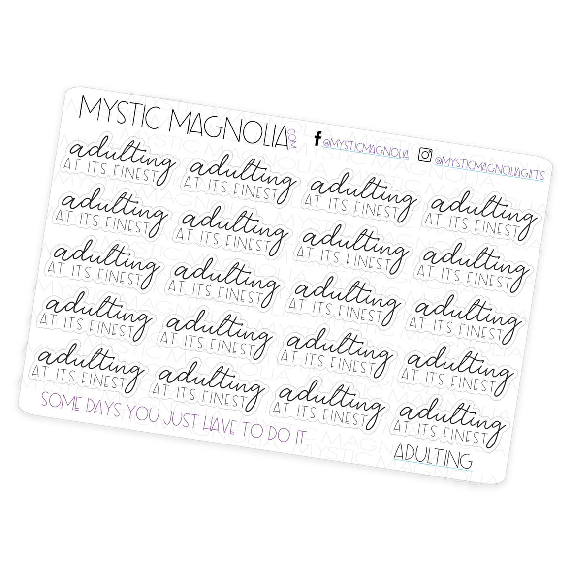 Adulting- Script Planner Stickers