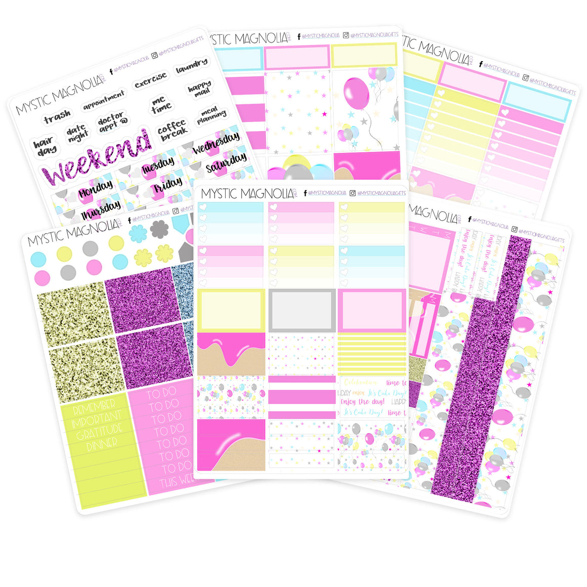 Happy Birthday Pink Planner Sticker Weekly Kit