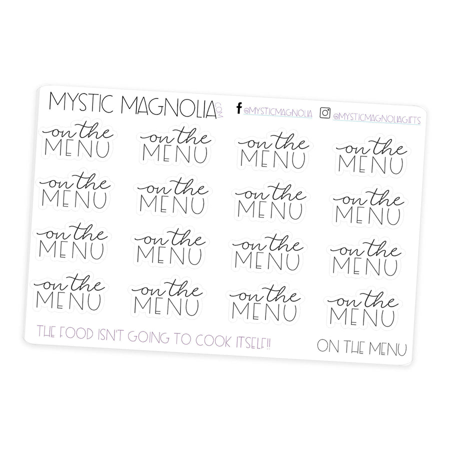 On the Menu- Script Planner Stickers