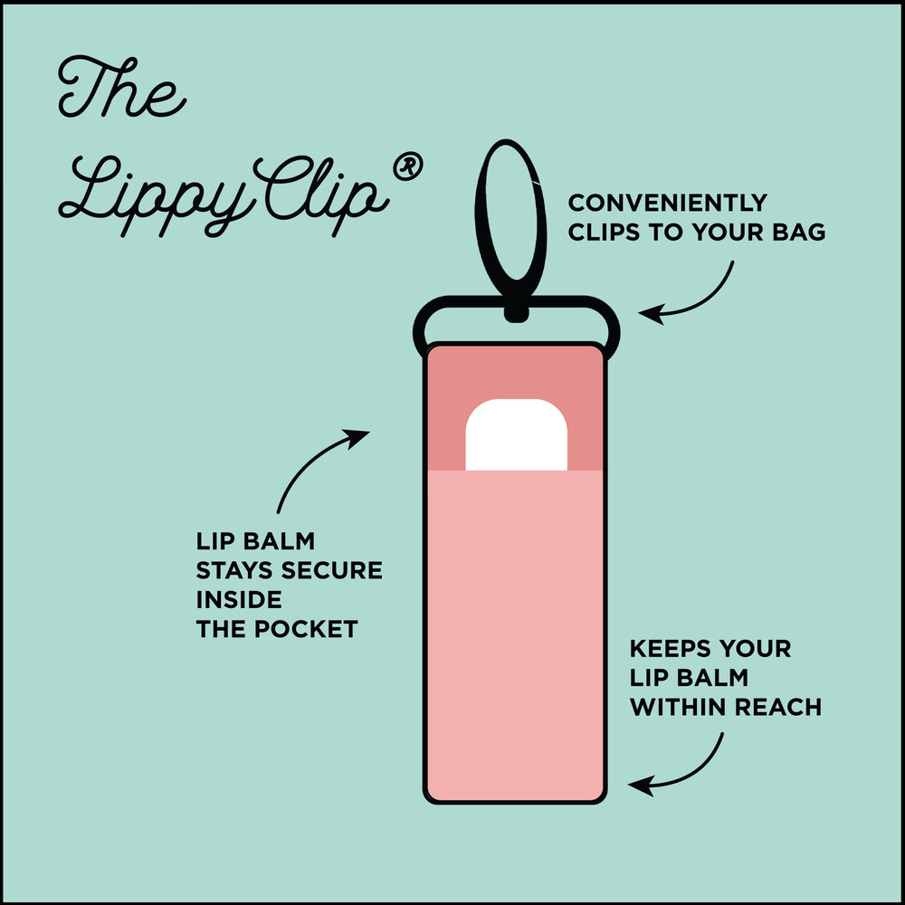 "Square diagram that shows the features and functions of a LippyClip. Text is ""Conveniently clips to your bag; Lip Balm stays secure inside the pocket; Keeps your lip balm within reach."""