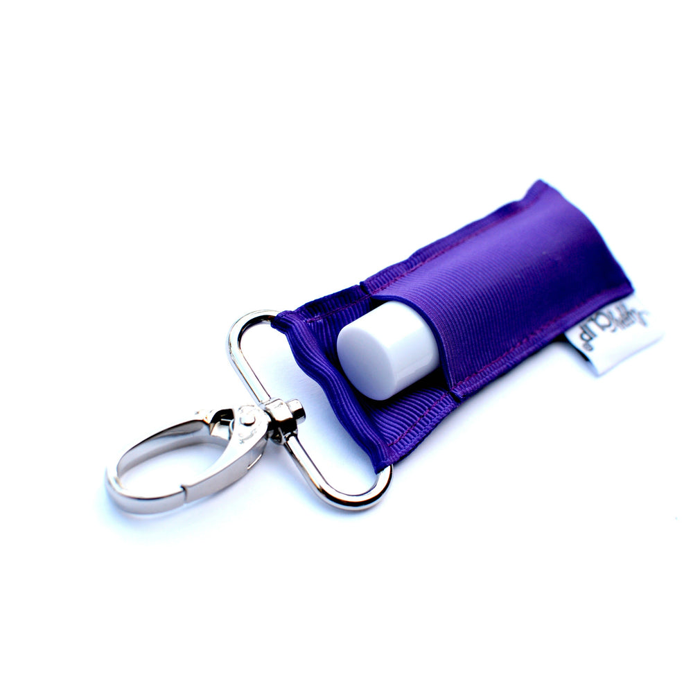 Purple LippyClip Lip Balm Holder with silver clip