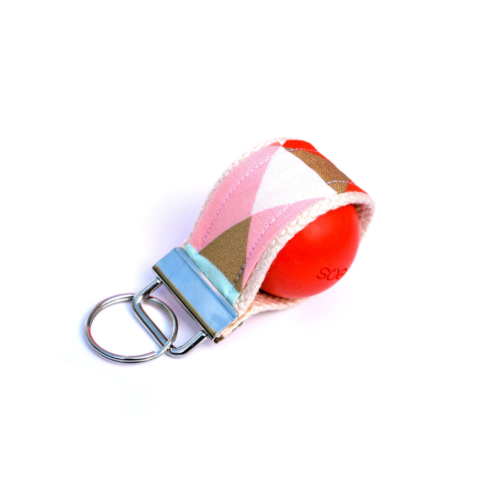 LippyLoop™ EOS Holder Keychain:  Coral Mint and Gold Geometric