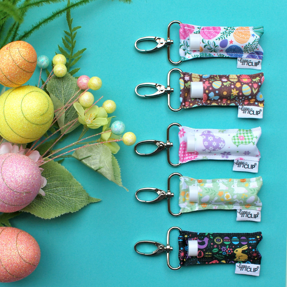 Easter LippyClip collection on teal background