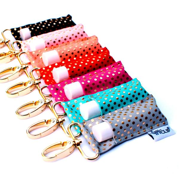 Gold Dot LippyClip collection with white background