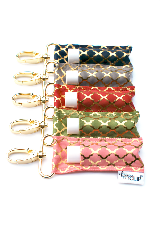 Gold Quatrefoil LippyClip collection on white background