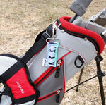 Golf LippyClip clipped to grey golf bag