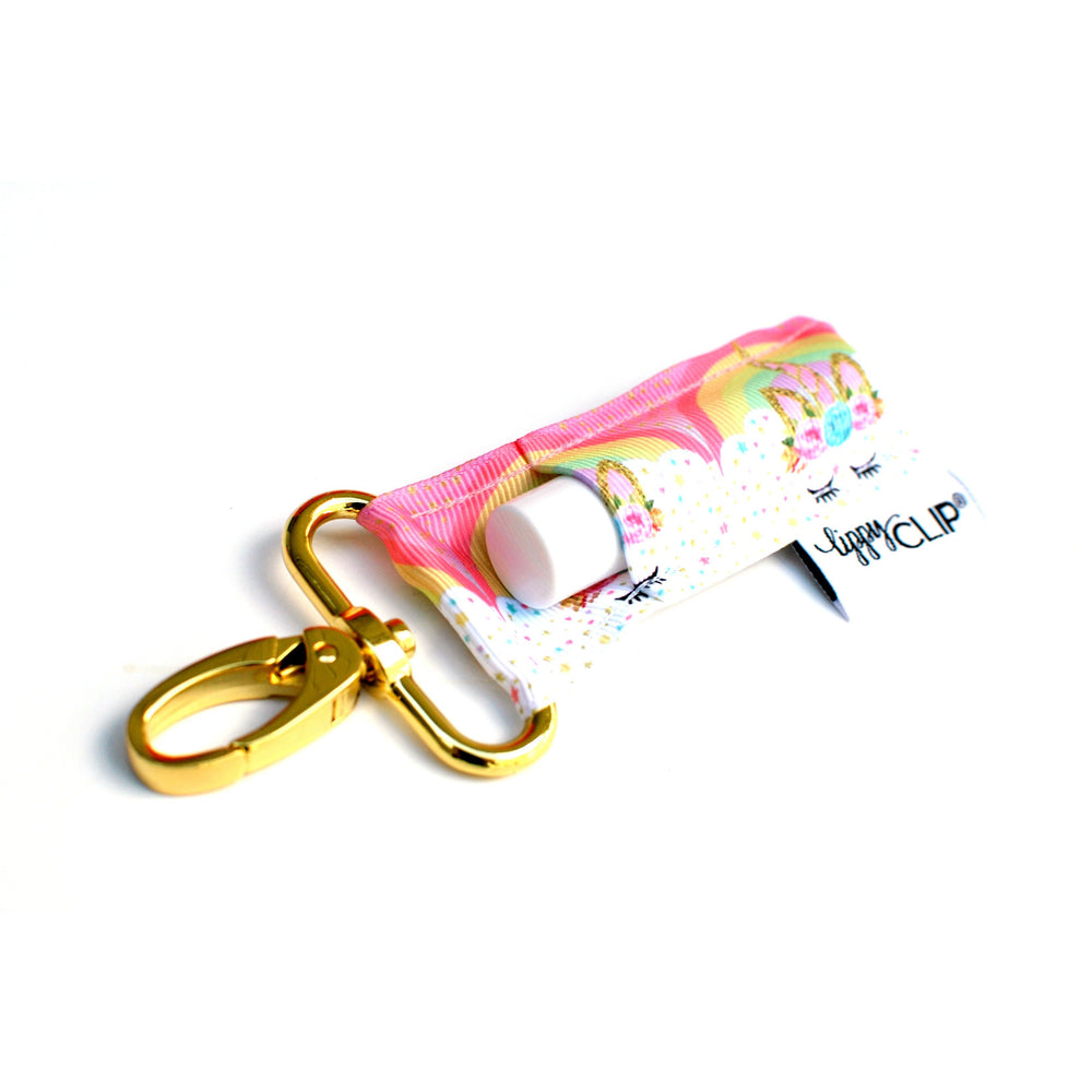 LippyClip Lip Balm Holder with gold clip with rainbows and unicorns