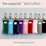 LippyClip Velvet collection on grey background