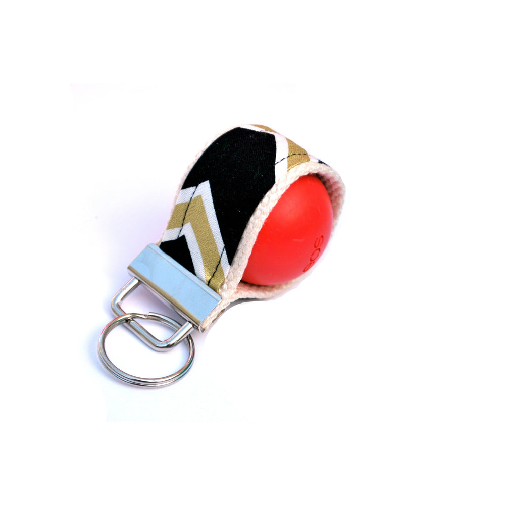 LippyLoop™ EOS Holder Keychain:  Black and Gold Diagonal Stripe Chevron