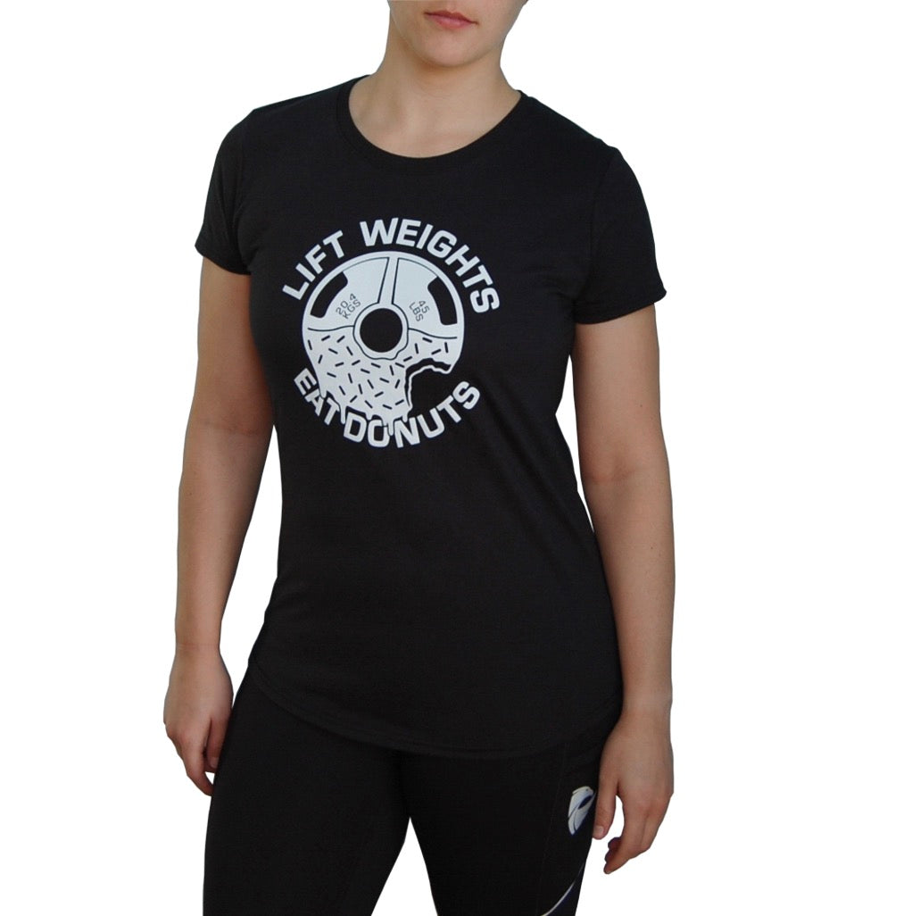 Women's Weights & Donuts T-shirt. Black