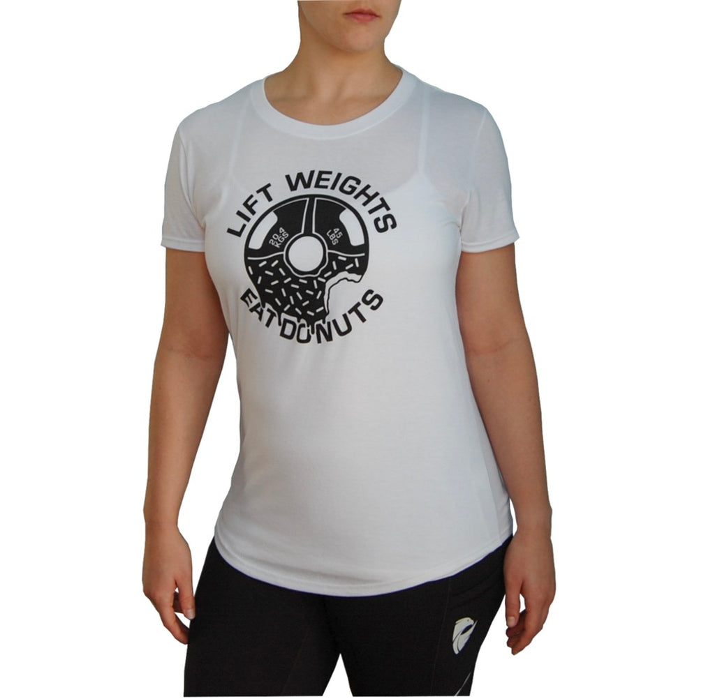 Women's Weights & Donuts T-shirt. White