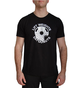 Lift Weights Eat Donuts T-shirt. Black