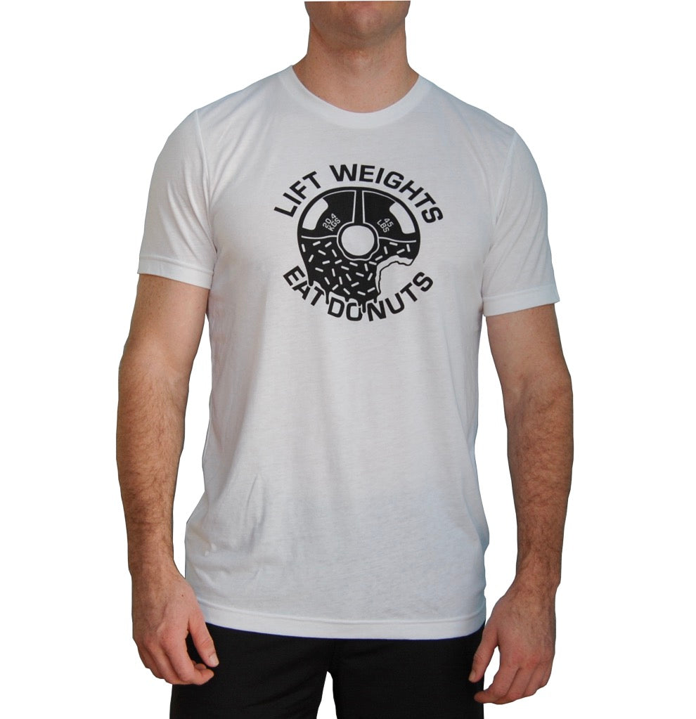 Lift Weights Eat Donuts T-shirt. White