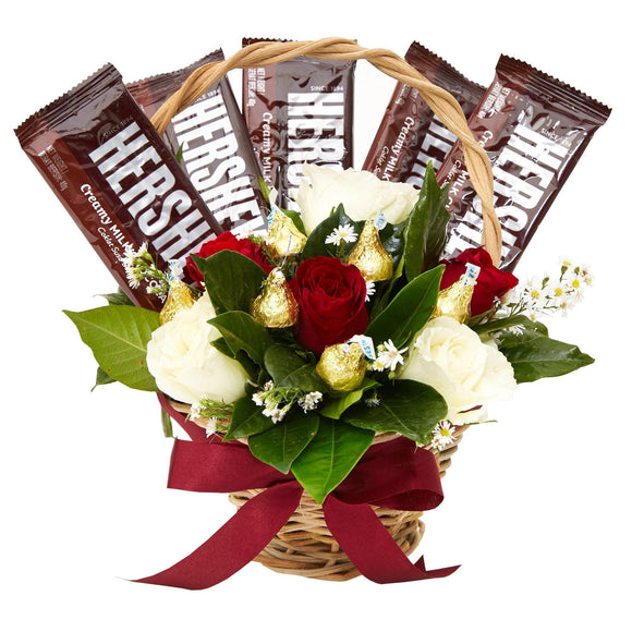 Assorted Blooms - Sweet Roses Gift Basket