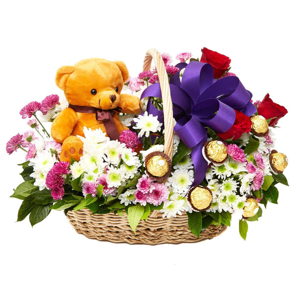 Assorted Blooms - Violet Surprise Gift Basket