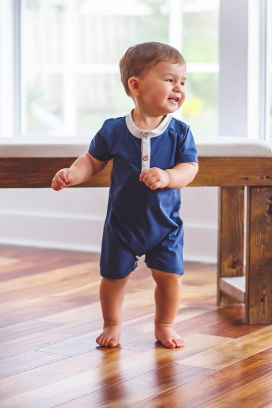 EXTRAS Navy and Gray Romper