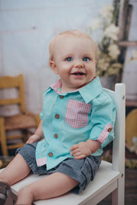 Aqua (with Pink Gingham detail) Button Up