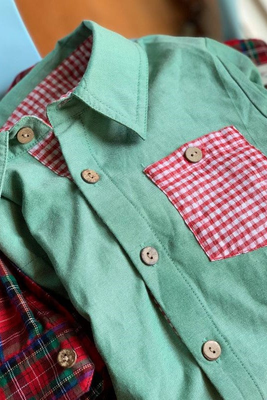 PREORDER Elkmont (Vintage Green with Red Gingham) Button Up