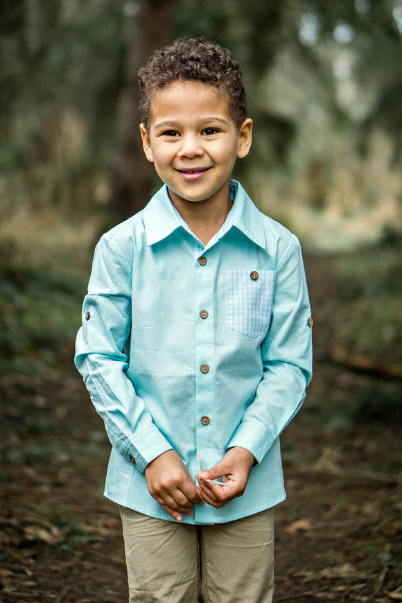Aqua (with Aqua Gingham detail) Button Up