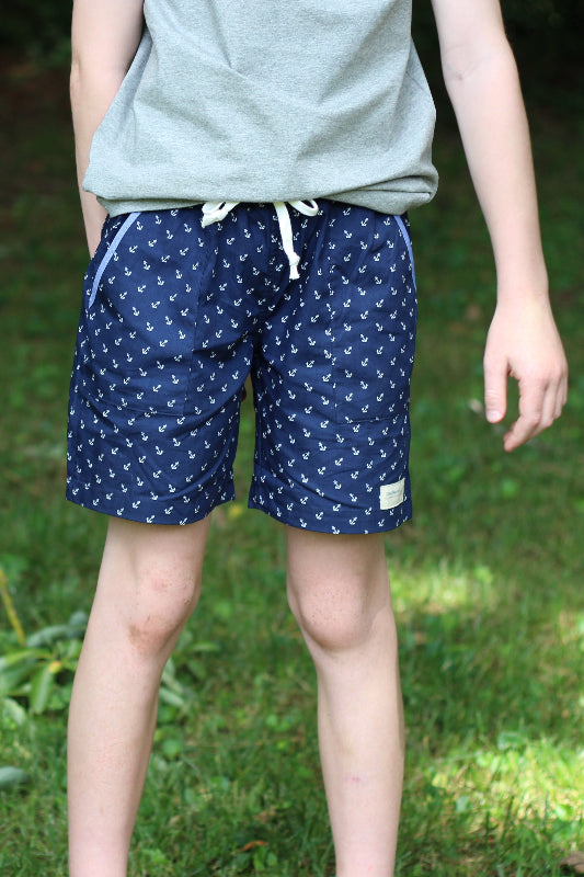 Following Seas Navy Anchor Drawstring Shorts