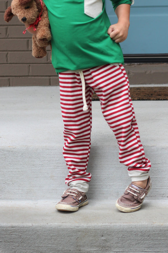 Candy Cane Red Striped Jogger Pants