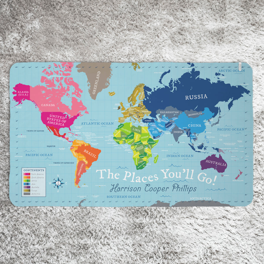 World Map Blanket - Blue