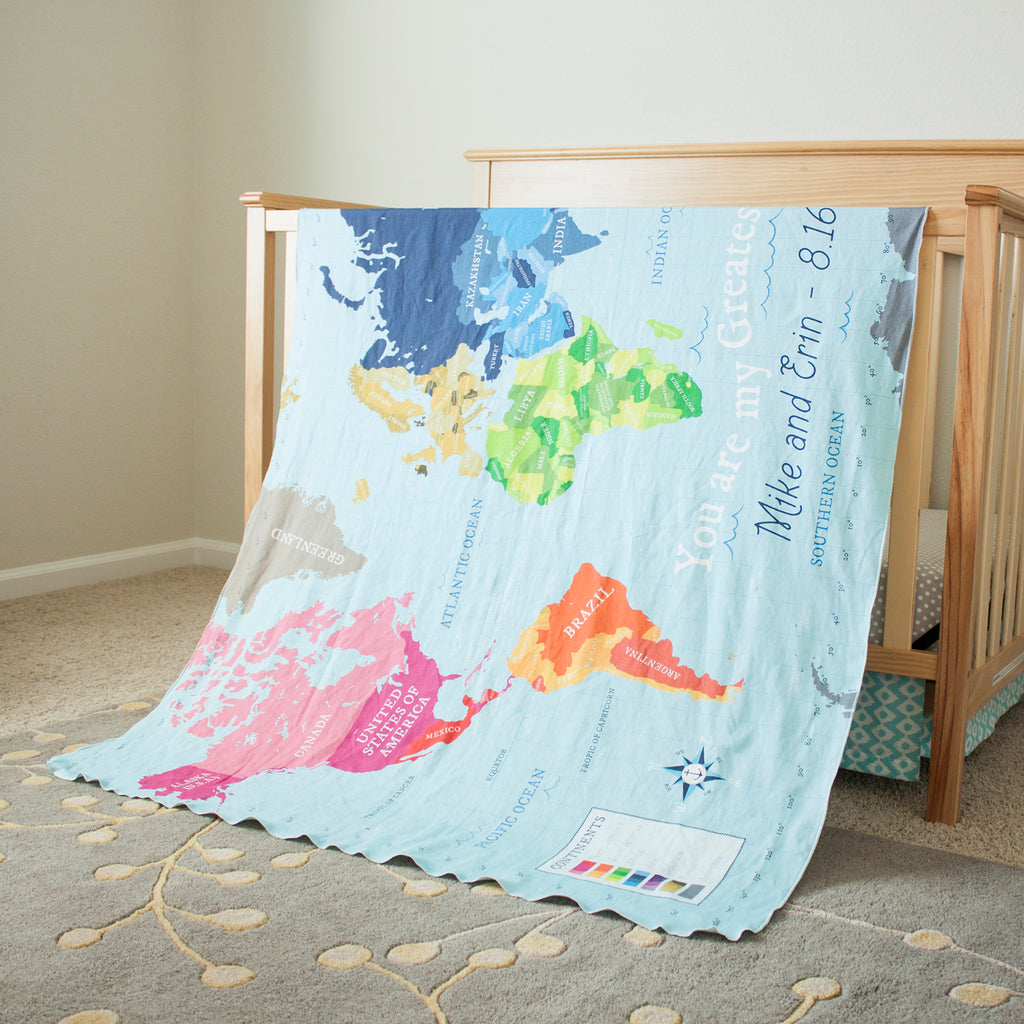 World Map - Blue - Fabric by the Yard