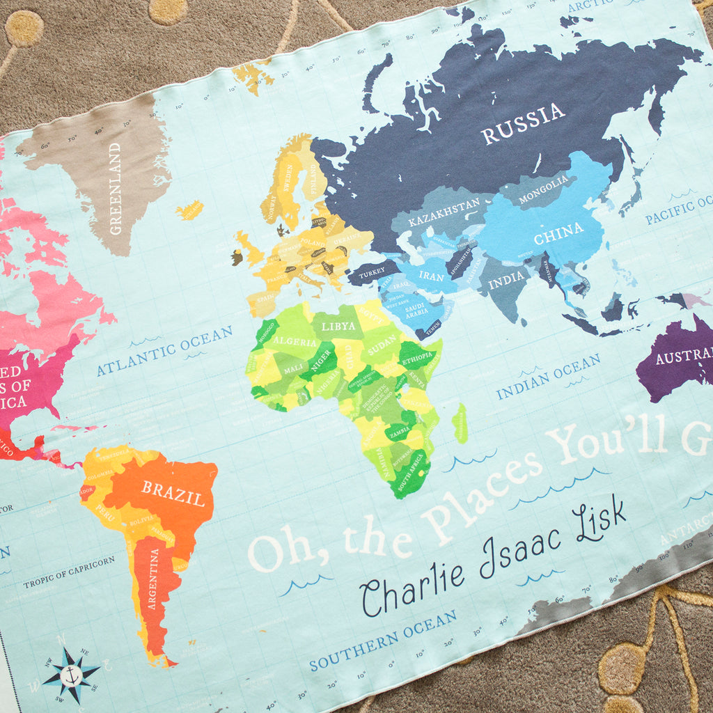 World Map Blanket   Blue – Pitter Patterned