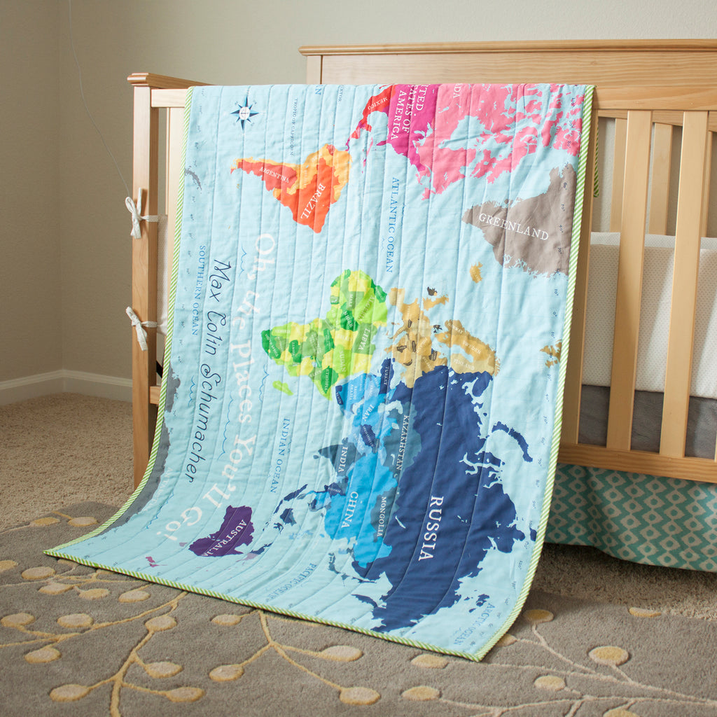 World Map Quilt World Map Quilt   Blue – Pitter Patterned