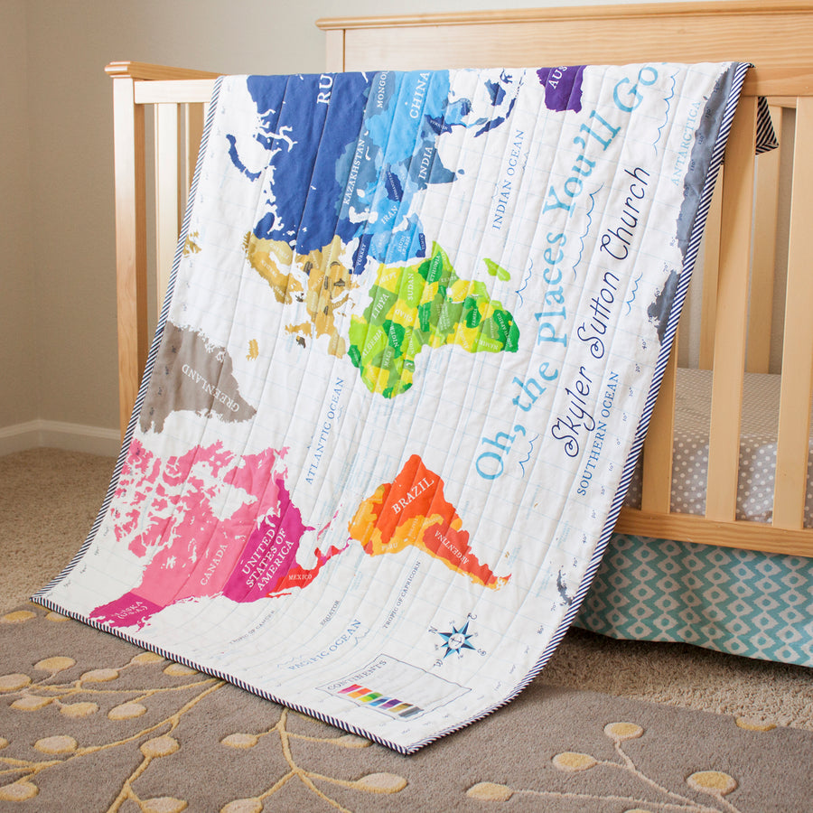 World Map Quilt - White
