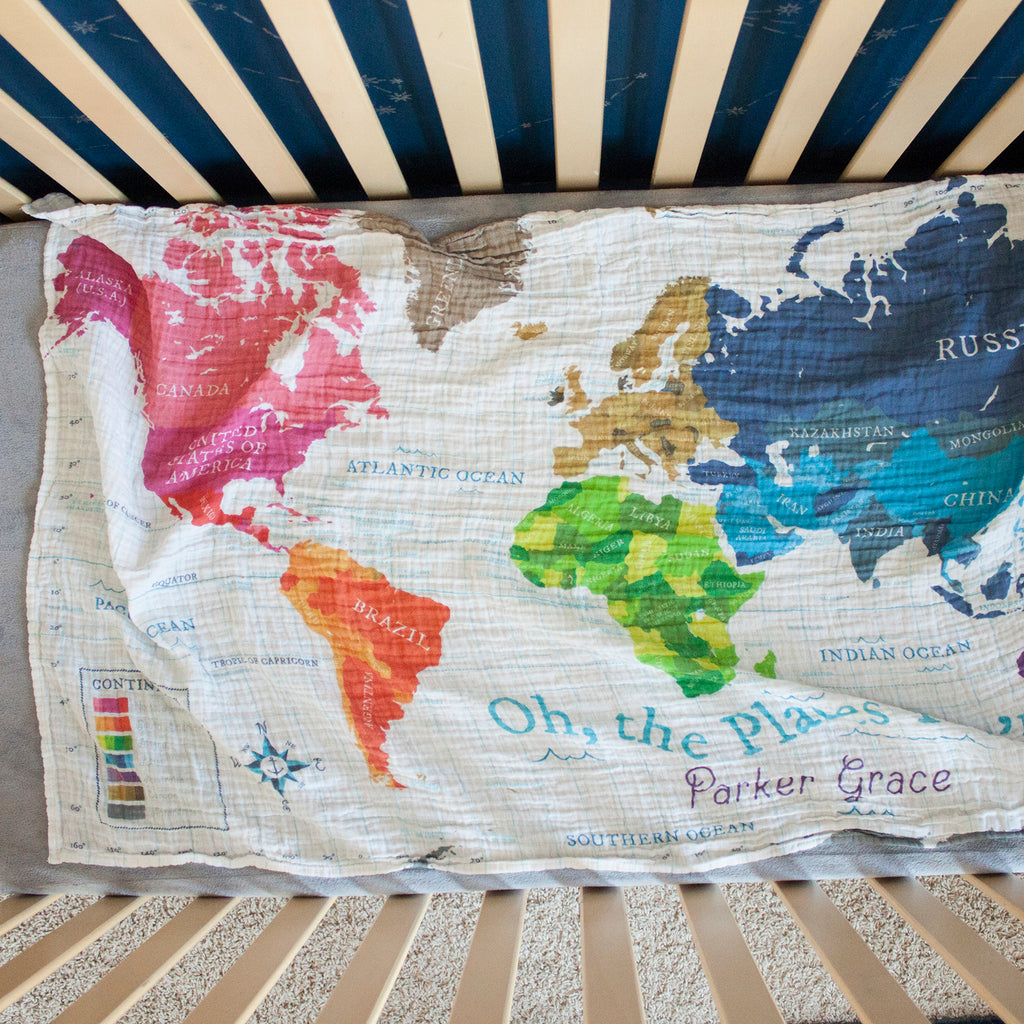 World Map - White - Fabric by the Yard