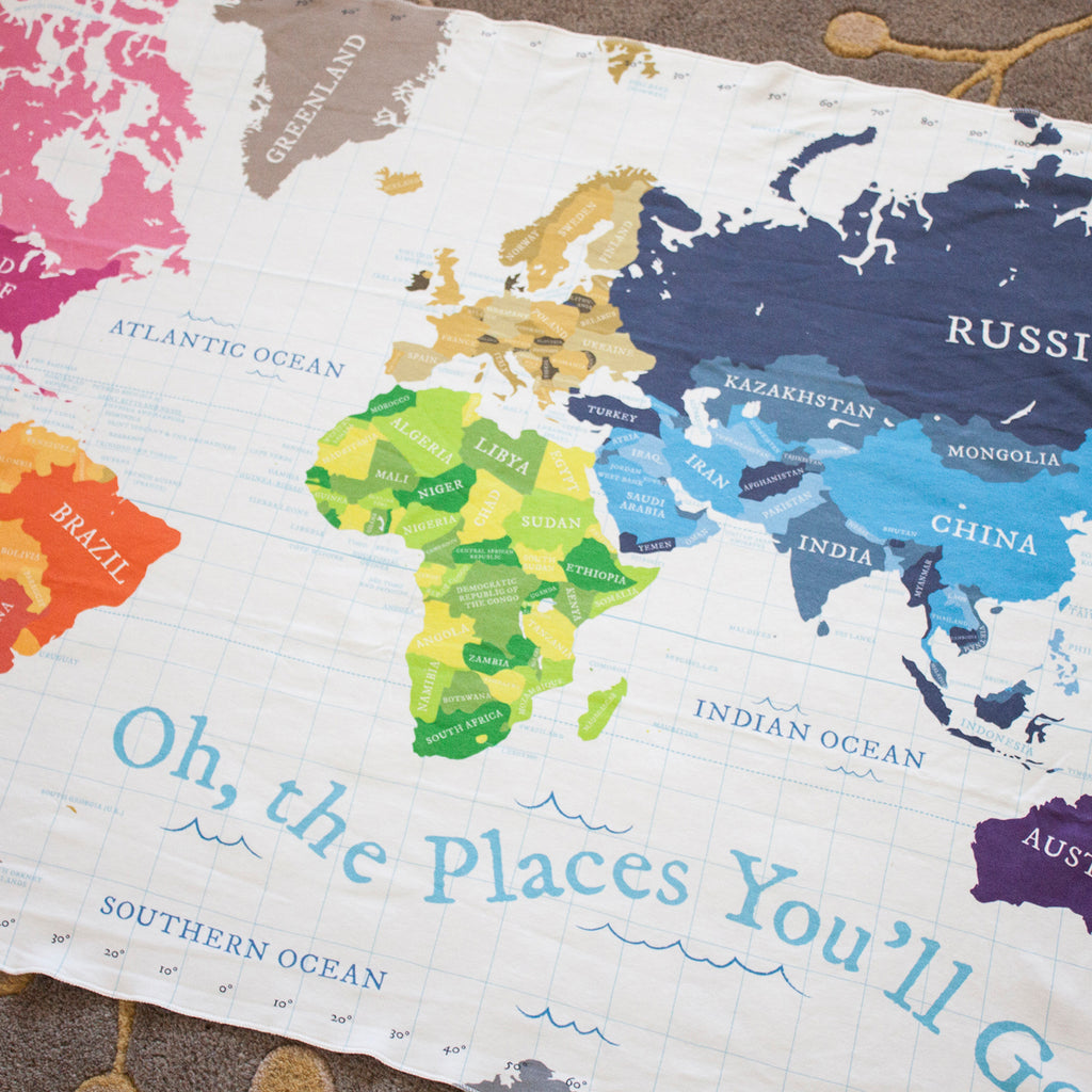 World Map Blanket   White – Pitter Patterned