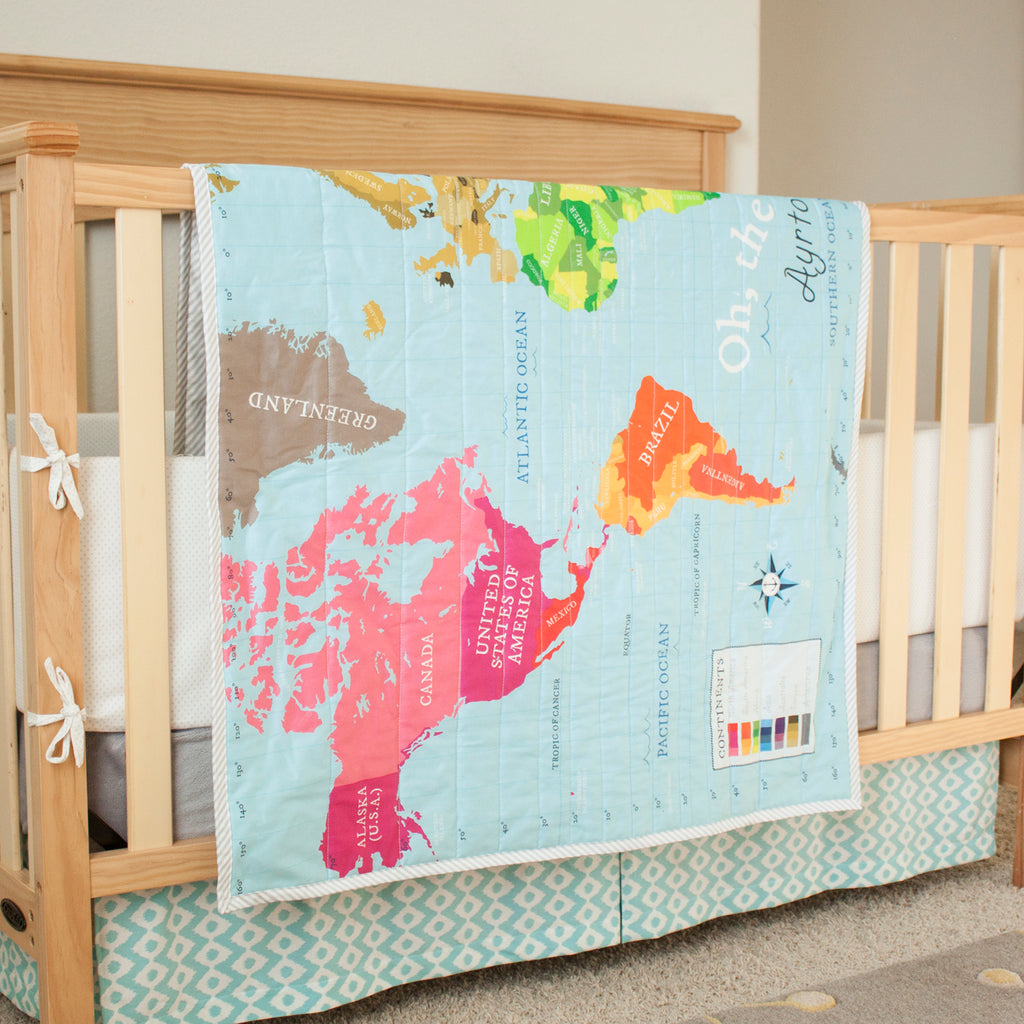World Map Quilt - Blue