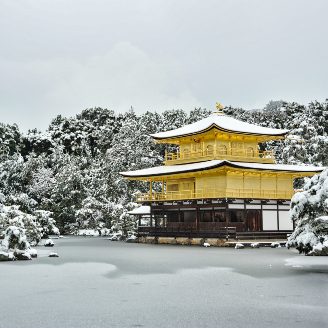 Kinkakuji (Golden Pavilion Temple) in snow, Kyoto, Japan. Photo by Takeshi Kuboki on Flickr.