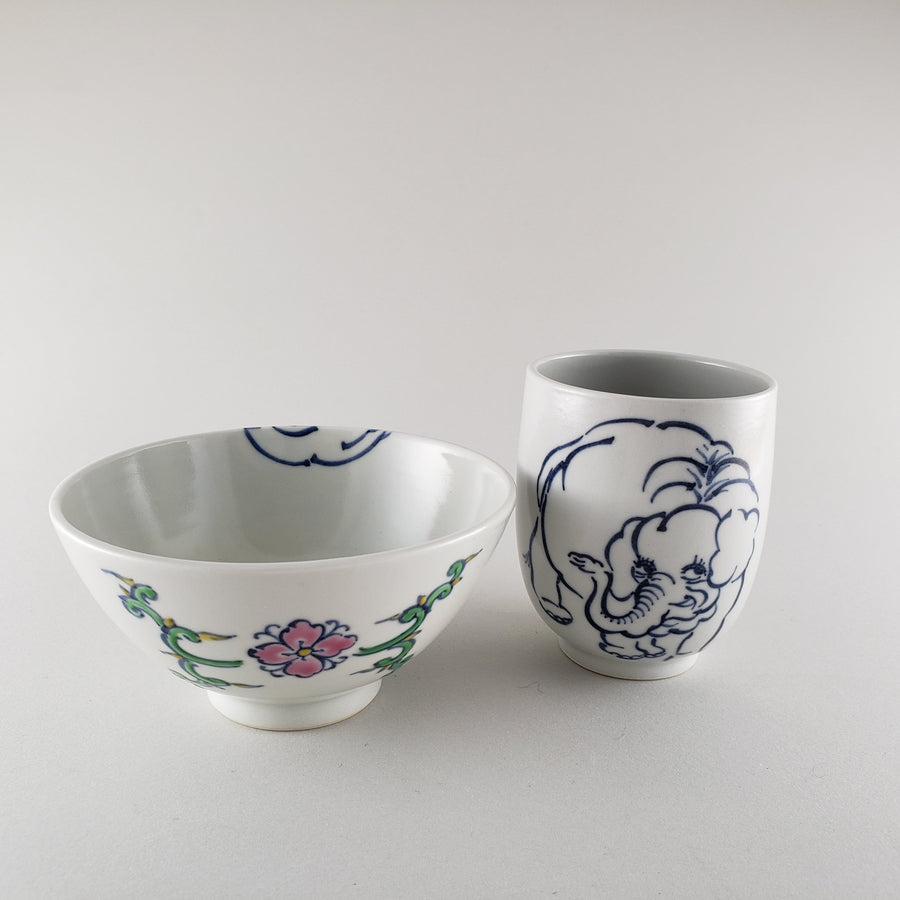 Tea cup and Rice bowl set ELEPHANT