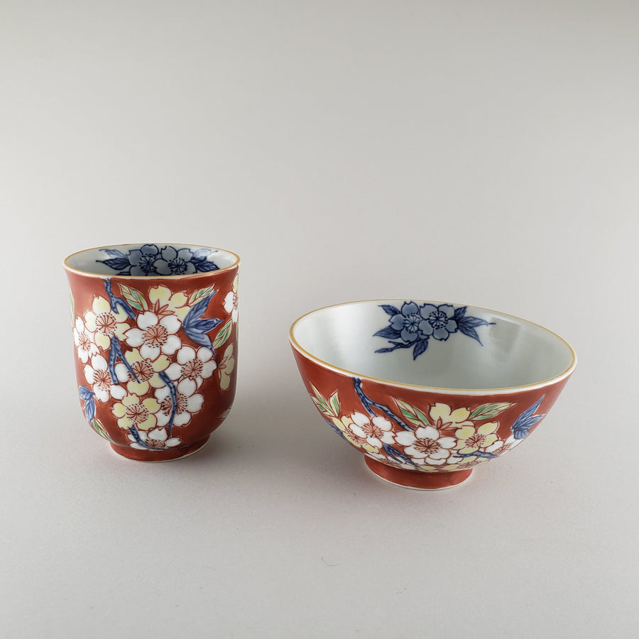 Tea cup and Rice bowl set CHERRY BLOSSOM