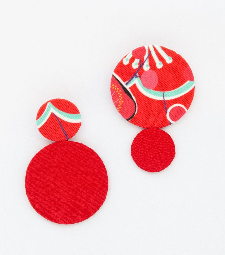 WA EARRINGS RED * Cotton