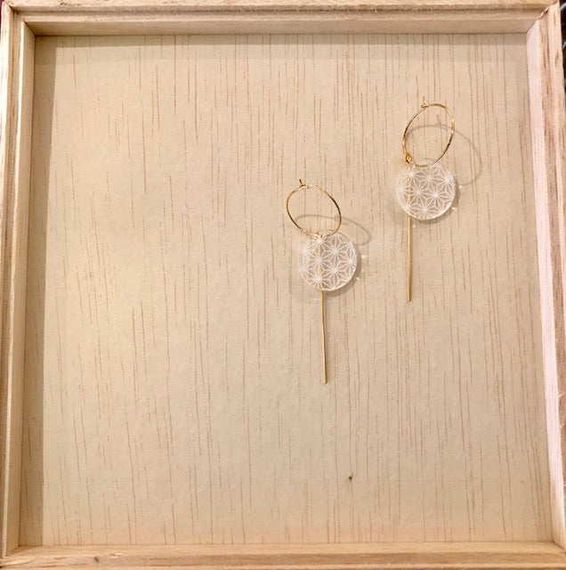 Japan patterns earrings ASANOHA white