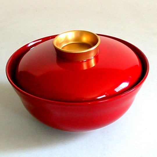 red urushi soup bowl with lid syu