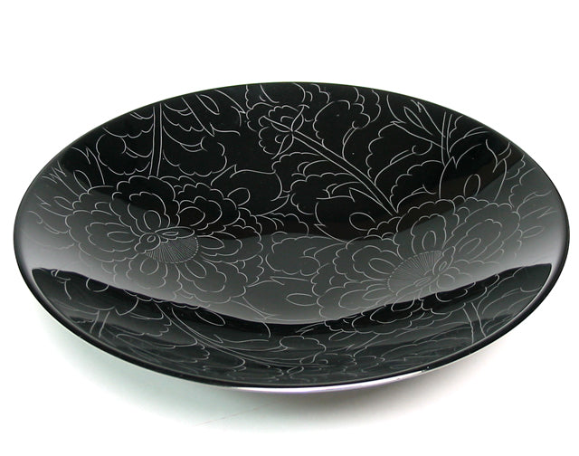 botan flower urushi dish in black