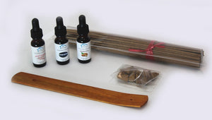 "Incense Making Kit with 3 Fragrance Oils, 100 11"" Unscented sticks & 24 Cones"