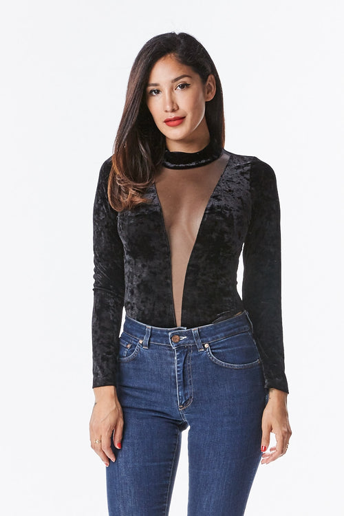 Velvet Mesh and Mock Neck Bodysuit